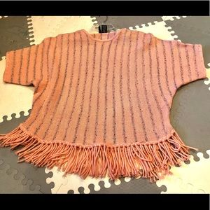 New Directions Fringe Peach Coral Top